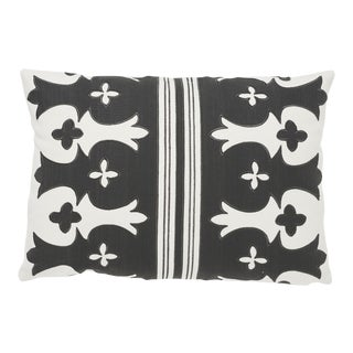Schumacher Bergama Pillow in Carbon & Ivory For Sale