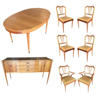 Mid-Century Walnut Dining Room Set Table, Chairs, Buffet - 8 Pc. Set For Sale