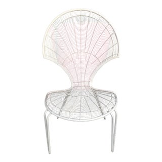 1970s Mid-Century Modern White Metal Chair