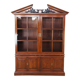 """Late 20th Century Arthur Brett George II Mahogany Library Bookcase China Cabinet Carved Eagles 93"""" For Sale"""