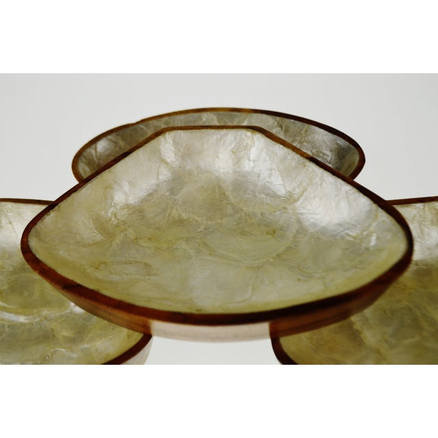 Mid Century Monkey Pod Wood and Capiz Shell Snack Bowls - Image 11 of 11