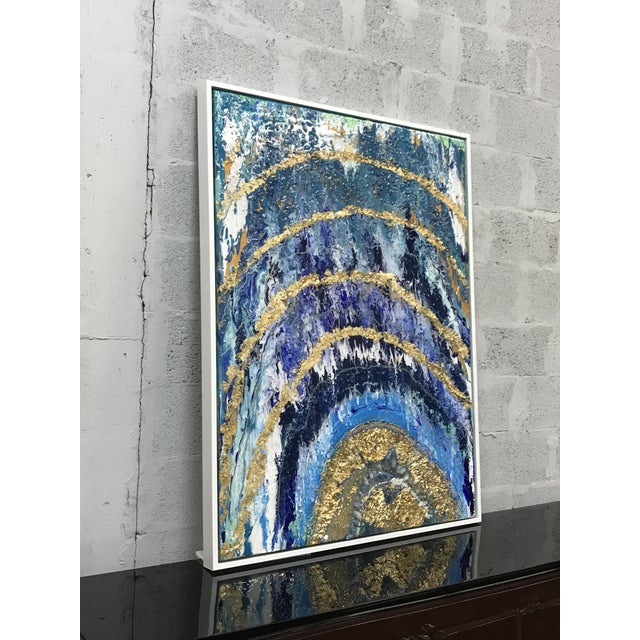 Abstract Framed Oil Painting With Resin and Rock Crystal on Canvas by Franchy For Sale - Image 9 of 13