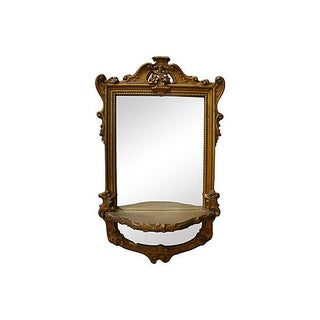 Antique French Gilt Mirror w/ Wall Shelf Preview