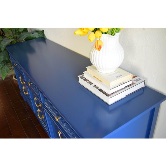 Mid 19th Century Permacraft Nine Drawer Navy Blue Dresser With Carved Front For Sale - Image 5 of 13