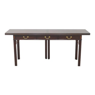 Late 20th Century Baker Mahogany Inlaid Console Hall Table For Sale