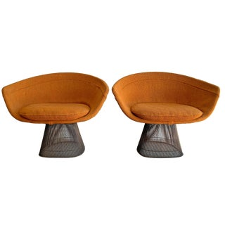 Pair of Early Warren Platner Bronze Lounge Chairs, 1960's For Sale