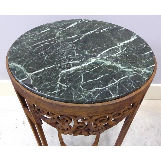 Art Deco French Art Deco Wrought Iron Marble Top Tables by Paul Kiss - A Pair For Sale - Image 3 of 11