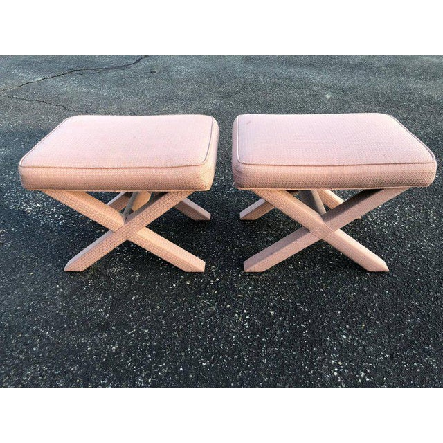 1970s Hollywood Regency Billy Baldwin Style X-Base Stools - a Pair For Sale - Image 11 of 12