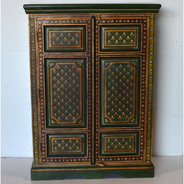 1990s Vintage Indian Painted Wooden Cabinet For Sale - Image 5 of 8