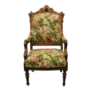 Late 20th Century Vintage Victorian Walnut Renaissance Revival Ornate Parlor Chair For Sale