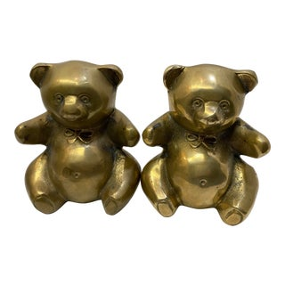 1980s Brass Teddy Bear Bookends - a Pair For Sale
