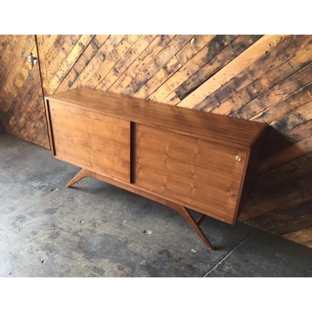 Mid Century Style Custom Walnut Sculpted Base Credenza For Sale - Image 9 of 9