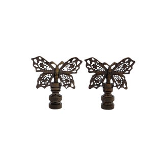 Antiqued Brass Butterfly Lamp Finials - a Pair For Sale