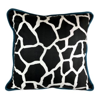 "Custom Black Giraffe Print Cotton Floor Cushion / Custom Made 30"" For Sale"