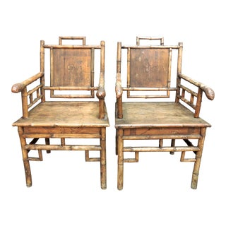 19th Century Signed & Inscribed Traditional Japanese 'Bamboo Root' Street Theatre Armchairs- a Pair For Sale