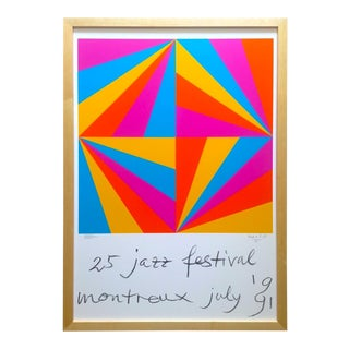 "Max Bill Rare Vintage 1991 Serigraph Print Framed "" Montreux Jazz Festival "" Collector's Modernist Poster For Sale"