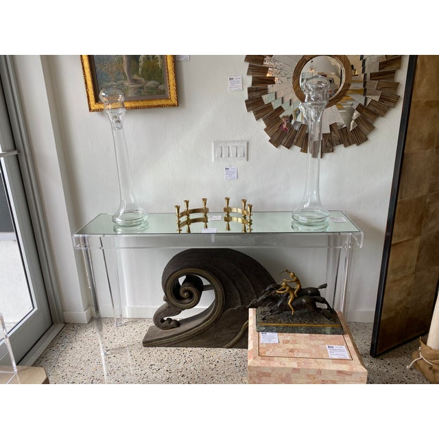 """Modern Lucite and Mirror Console Table 60"""" width - design center floor sample - 2 are available This stylish and chic..."""