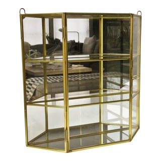 1970s Modern Brass and Glass Mirror Display Case For Sale