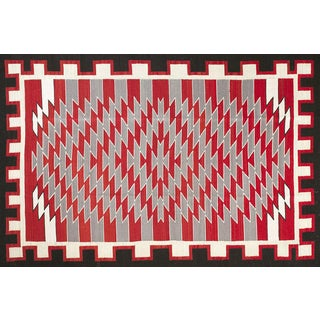 Navajo Style Wool Rug - 6′ × 9' For Sale