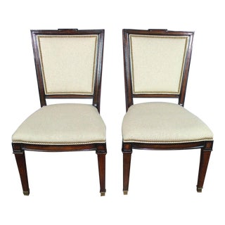 Large Neoclassical Fruitwood Side Chairs Armchairs - a Pair For Sale