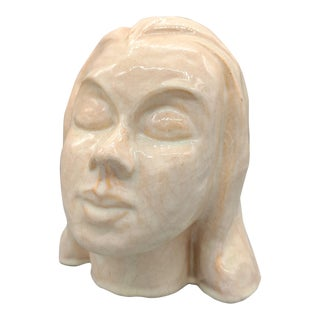 Vintage Glazed Clay Bust Sculpture of Woman's Head For Sale