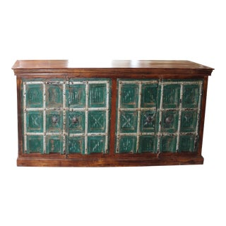 1920s Antique Green Doors Distressed Wood Sideboard For Sale