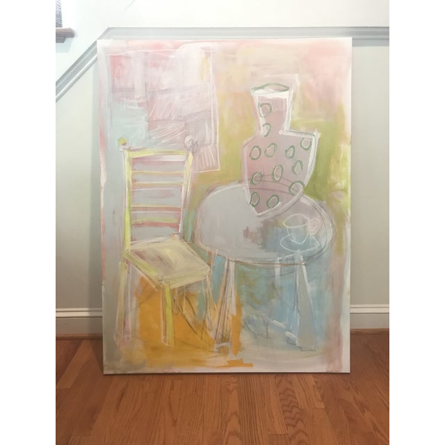"""Abstract Sarah Trundle Abstract Still Life """"A Seat at the Table"""" Painting For Sale - Image 3 of 7"""