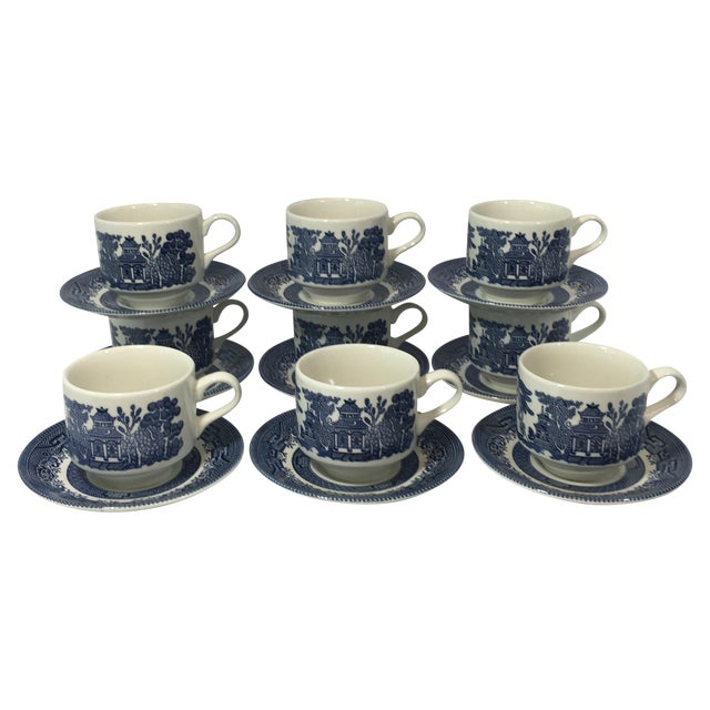 Blue Willow Teacups and Saucers - Set of 9 - Image 1 of 6