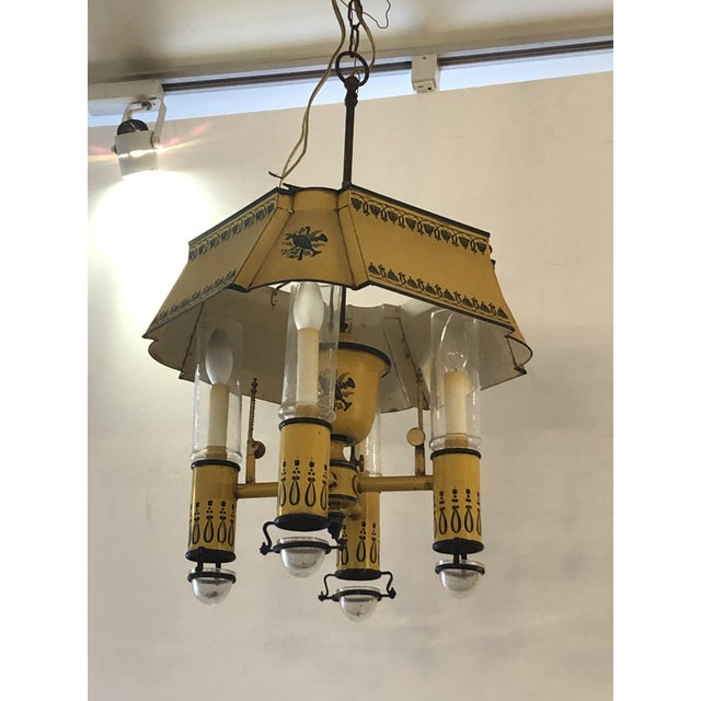 French Iron and Tole Painted 4-Arm Chandelier For Sale - Image 10 of 10