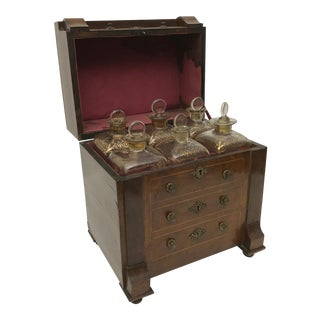 Rare French Miniature Chest Cellarette With 6 Gold Gilt Decanters