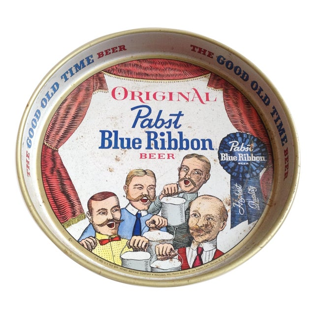 Vintage Original Pabst Blue Ribbon Metal Tray For Sale