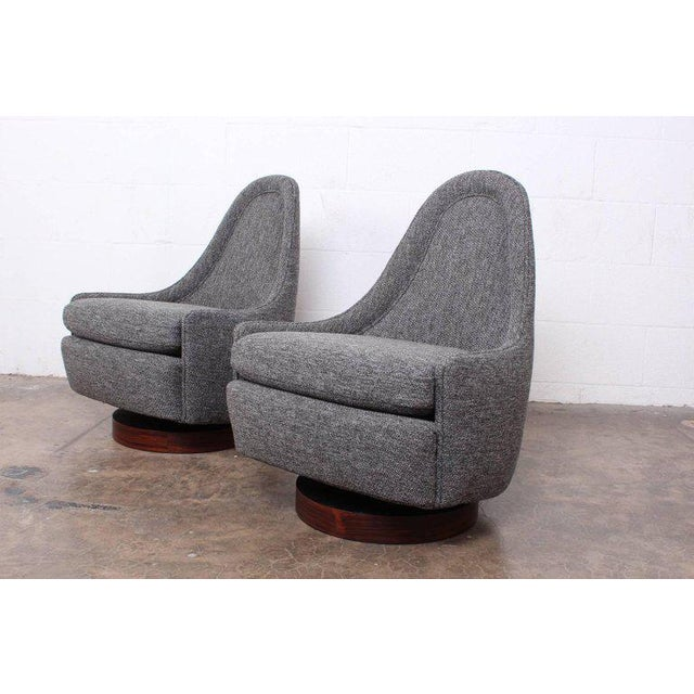 Pair of Petite Rocking Swivel Chairs by Milo Baughman For Sale - Image 12 of 13