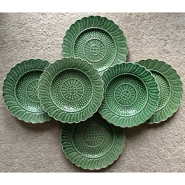 6 Green Majolica Basket Weave Dishes-Bordallo Pinheiro For Sale - Image 10 of 10
