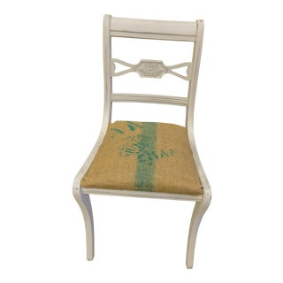 Antique White Cottage Chic Burlap Accent Chair