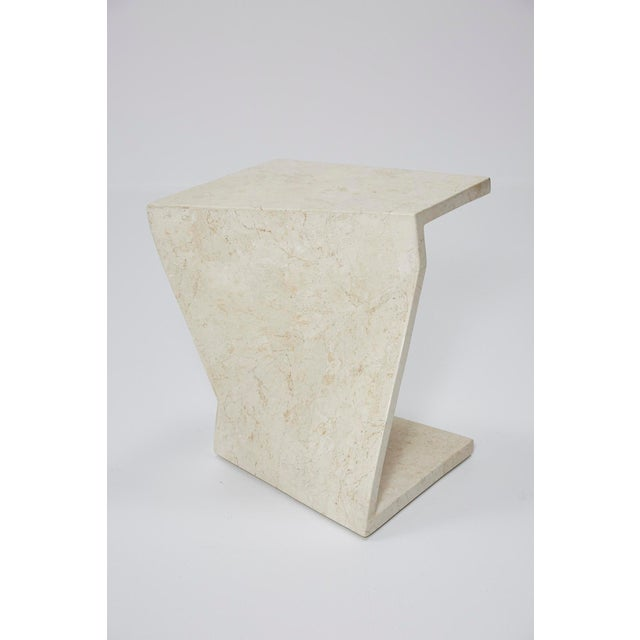 Zig Zag Side Tables or Coffee Table in Tessellated White Stone, 1990s - a Pair For Sale In Los Angeles - Image 6 of 13
