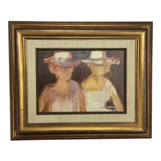 Two Women With Hats by French Artist Rene Leroy For Sale