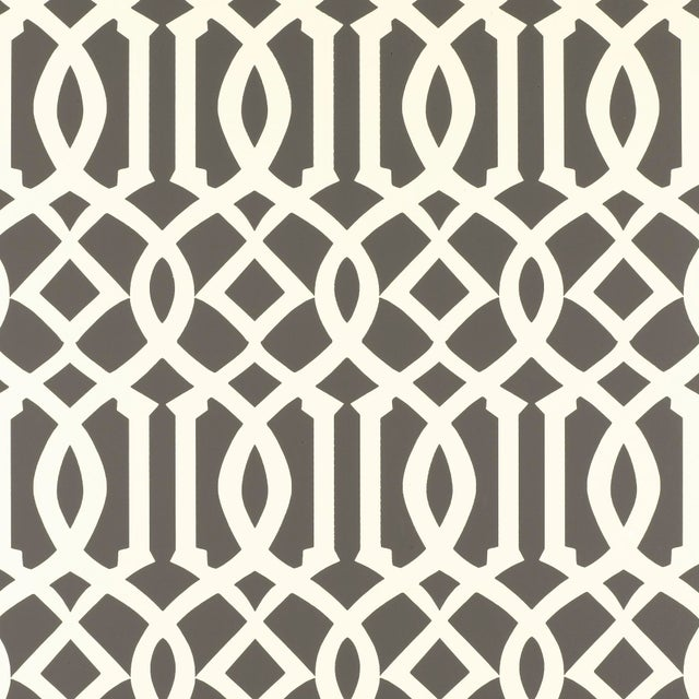 Contemporary Schumacher Imperial Trellis Wallpaper in Charcoal For Sale - Image 3 of 3