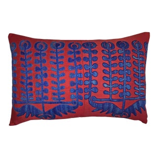 Vintage Blue & Red Uzbekistan Shrub Samarkand Accent Pillow For Sale