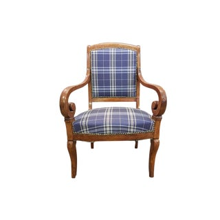 Antique Louis XV French Restauration Period Small Walnut Armchair 19th Century Newly Upholstered For Sale