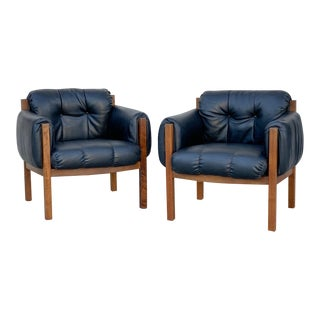 1970's Vintage Brazilian Black Walnut Club Chairs- A Pair For Sale