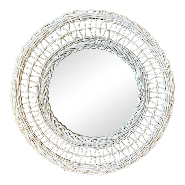 Vintage White Wicker Round Wall Mirror For Sale