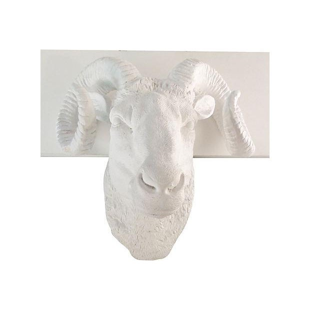 Mid-Century Plaster Rams Head Wall Sculpture - Image 2 of 4
