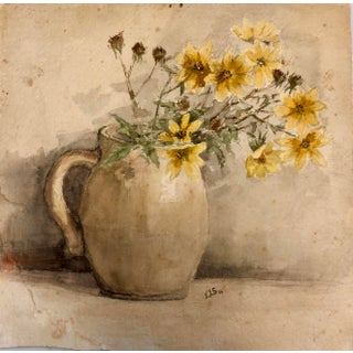 "Vintage Modernist Painting ""Flowers in a Milk Vase"" For Sale"