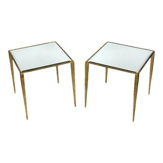 Pair Gilt Metal Side Tables With Mirror Tops For Sale