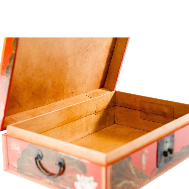 Asian Modern Lawrence & Scott Hand-Painted Water Buffalo Leather Box on Hongmu Stand For Sale In Seattle - Image 6 of 9