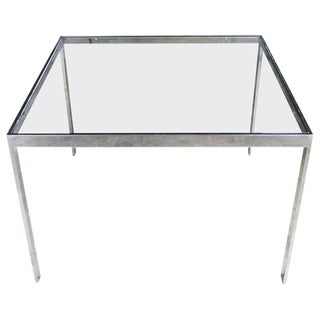 Chrome and Glass Milo Baughman Attribution Parsons Style End Table Vintage Modern For Sale