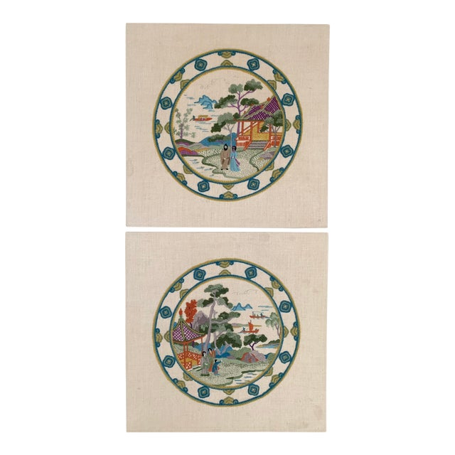 Vintage Chinoiserie Crewl Needlepoint Art Works - a Pair For Sale