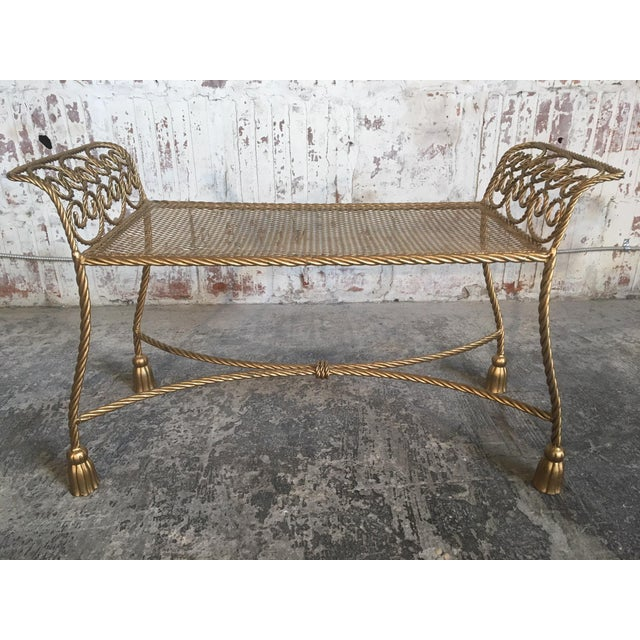 Hollywood Regency Hollywood Regency Gold Gilt Wrought Iron Tassel Vanity Bench For Sale - Image 3 of 10