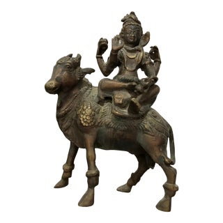 Antique Indian Bronze Sculpture of God of Shiva For Sale