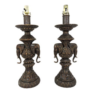 Vintage Anglo Indian Bronze Patinated Elephant Table Lamps - a Pair For Sale